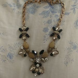 J.crew necklace in black and gray stone.